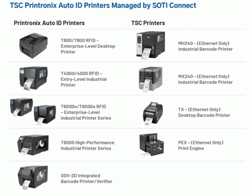 TSC printronix auto id printers managed by soti connect